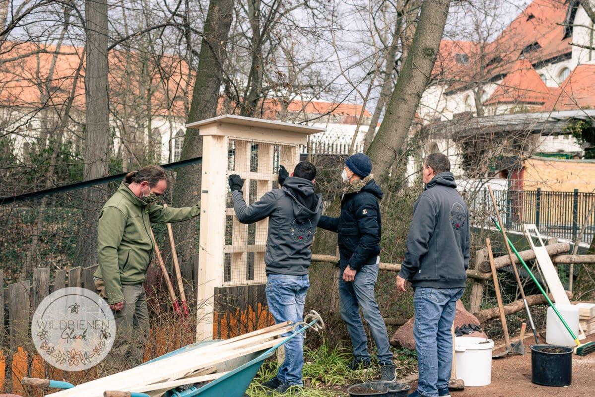 Wildbienenhotel im Zoo Leipzig beim Aufbau